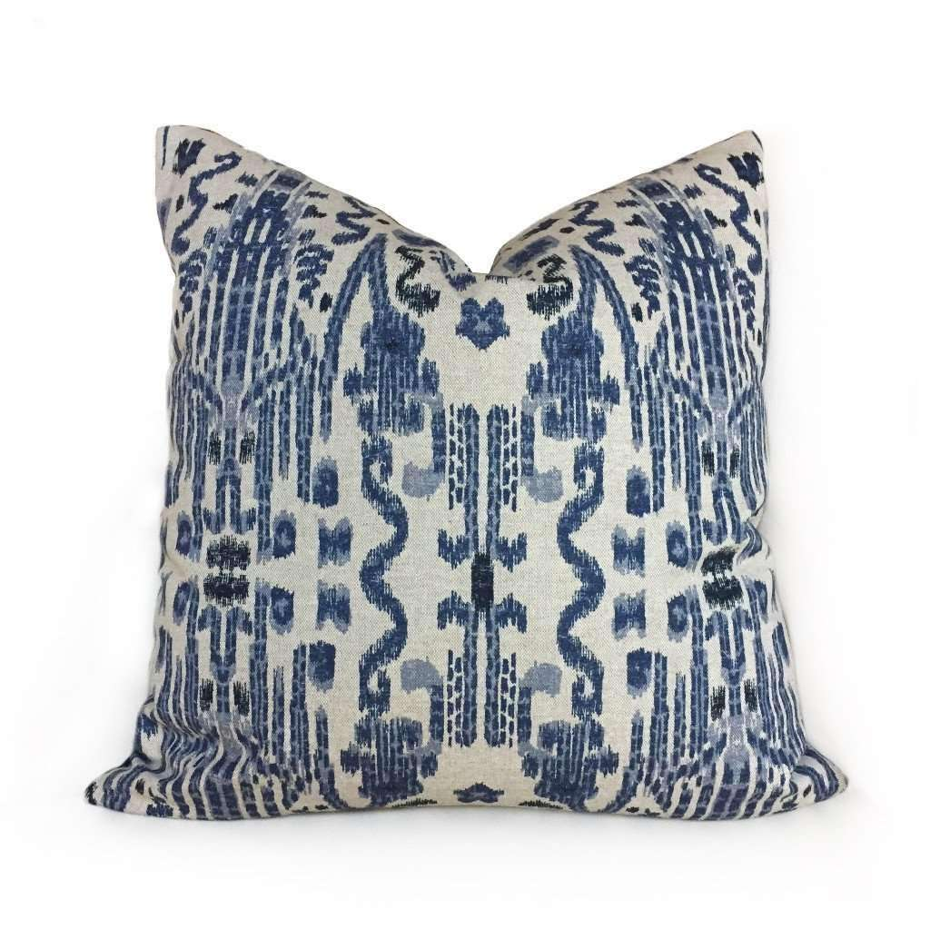Lacefield Mumbai Blue Beige Ikat Cotton Print Pillow Cover