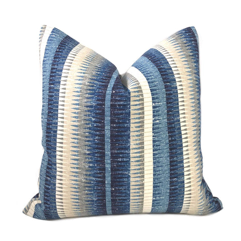 Muskogee Denim Blue Cream Taupe Stripe Pillow Cover