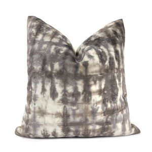 Nari Taupe Gray Cream Tie Dyed Velvet Pillow Cover