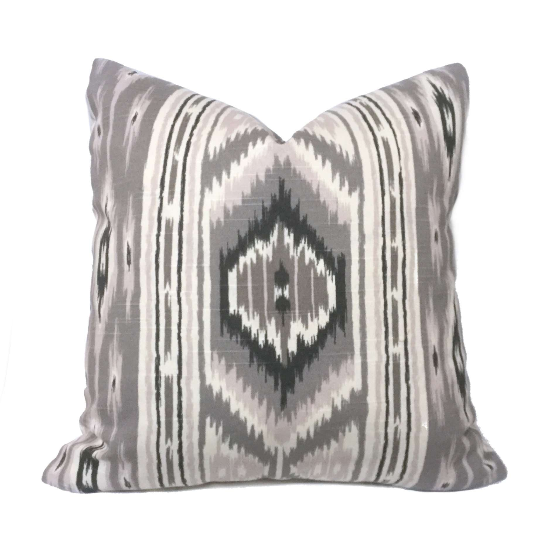 Nate Berkus Ethnic Tribal Gray Lilac Cotton Print Pillow Cover
