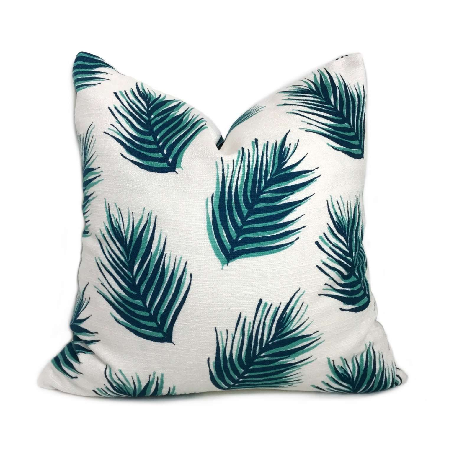 Nate Berkus Green Palm Leaves Cotton Print Pillow Cover Cushion Pillow Case Euro Sham 16x16 18x18 20x20 22x22 24x24 26x26 28x28 Lumbar Pillow 12x18 12x20 12x24 14x20 16x26 by Aloriam