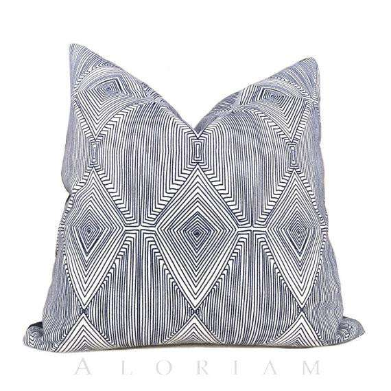 Nate Berkus Navy Blue White Geometric Diamond Pattern Pillow Cover Cushion Pillow Case Euro Sham 16x16 18x18 20x20 22x22 24x24 26x26 28x28 Lumbar Pillow 12x18 12x20 12x24 14x20 16x26 by Aloriam