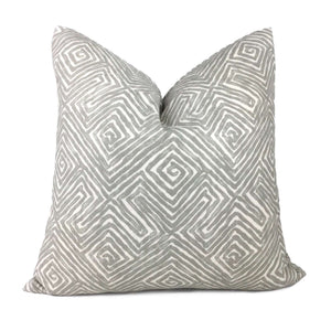 Nate Berkus Tribal Maze Gray Cream Cotton Print Pillow Cover