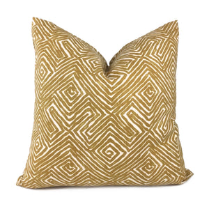 Nate Berkus Tribal Maze Ochre Yellow Cream Cotton Print Pillow Cover