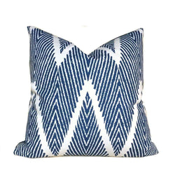 Navy Blue Cream Bali Ikat Ethnic Chevron Geometric Pillow Cover (Made From Lacefield Designs Fabric)