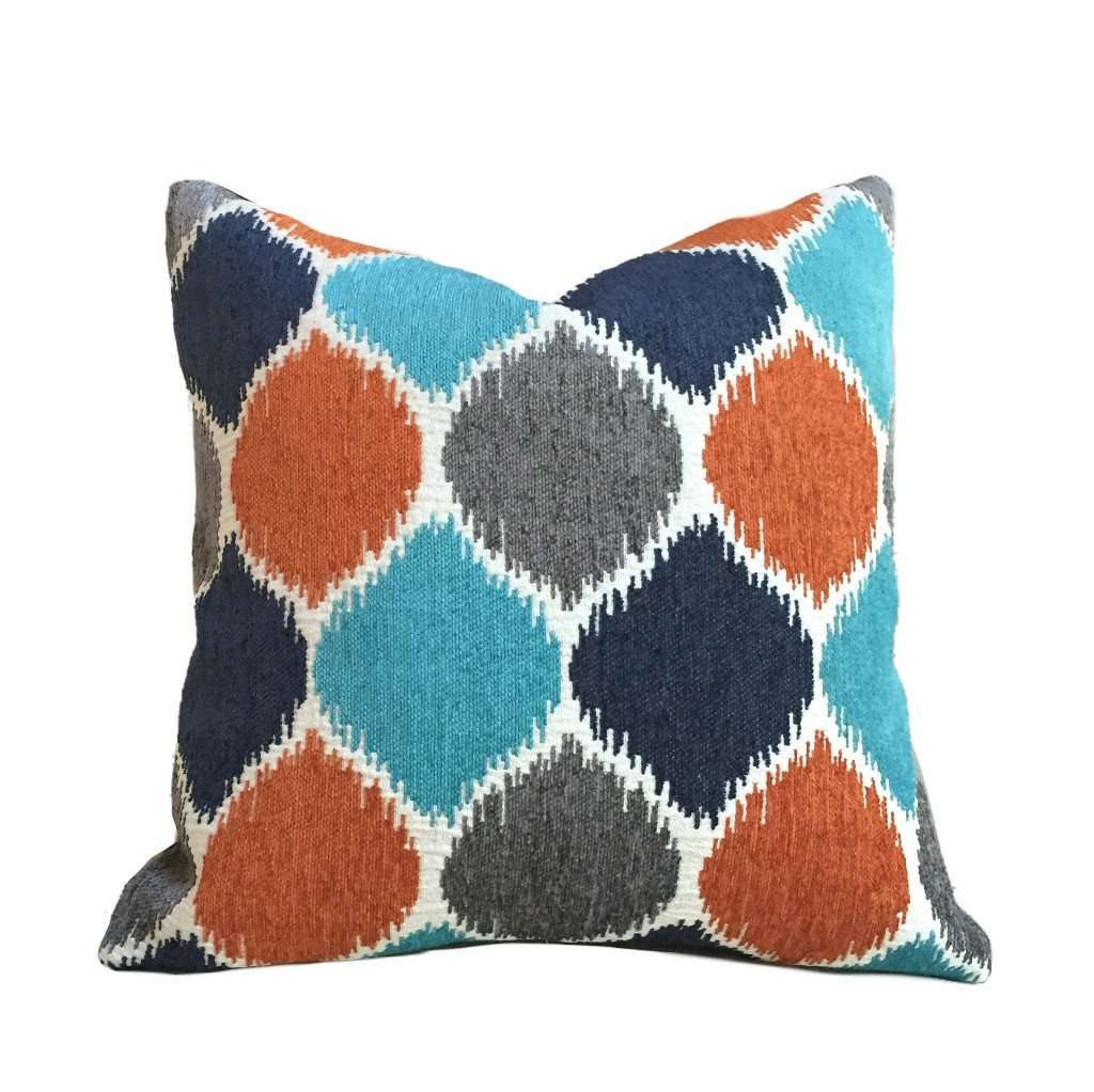 Navy Blue Gray Turquoise Orange Geometric Chenille Pillow Cushion Zipper Cover