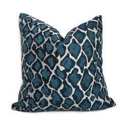 Navy Blue Large Leopard Spots Pillow Cover Cushion Pillow Case Euro Sham 16x16 18x18 20x20 22x22 24x24 26x26 28x28 Lumbar Pillow 12x18 12x20 12x24 14x20 16x26 by Aloriam