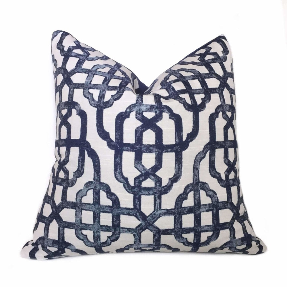 Navy Blue Off-White Chinoiserie Fretwork Lattice Pillow Cover