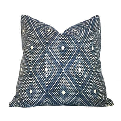 Navy Blue Diamond Geometric Pillow Cover