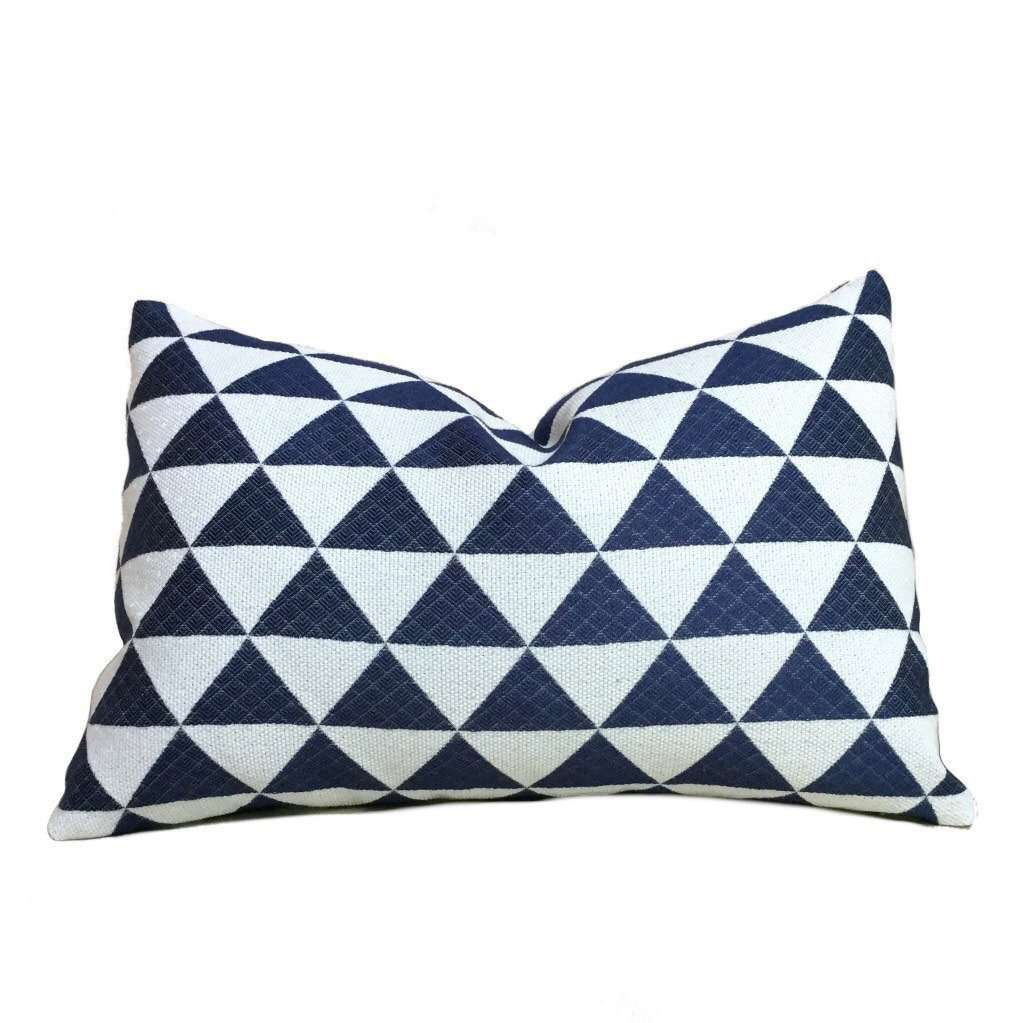 "Navy Blue Off-White Stacked Triangles Geometric Pillow Cover, Fits Lumbar 16"" 18"" 20"" 22"" 24"" Cushion Inserts"