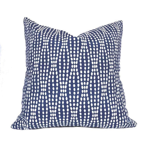 Navy Blue White Abstract Pearl Strands Pillow Cover, Fits 18x18 Cushion Inserts