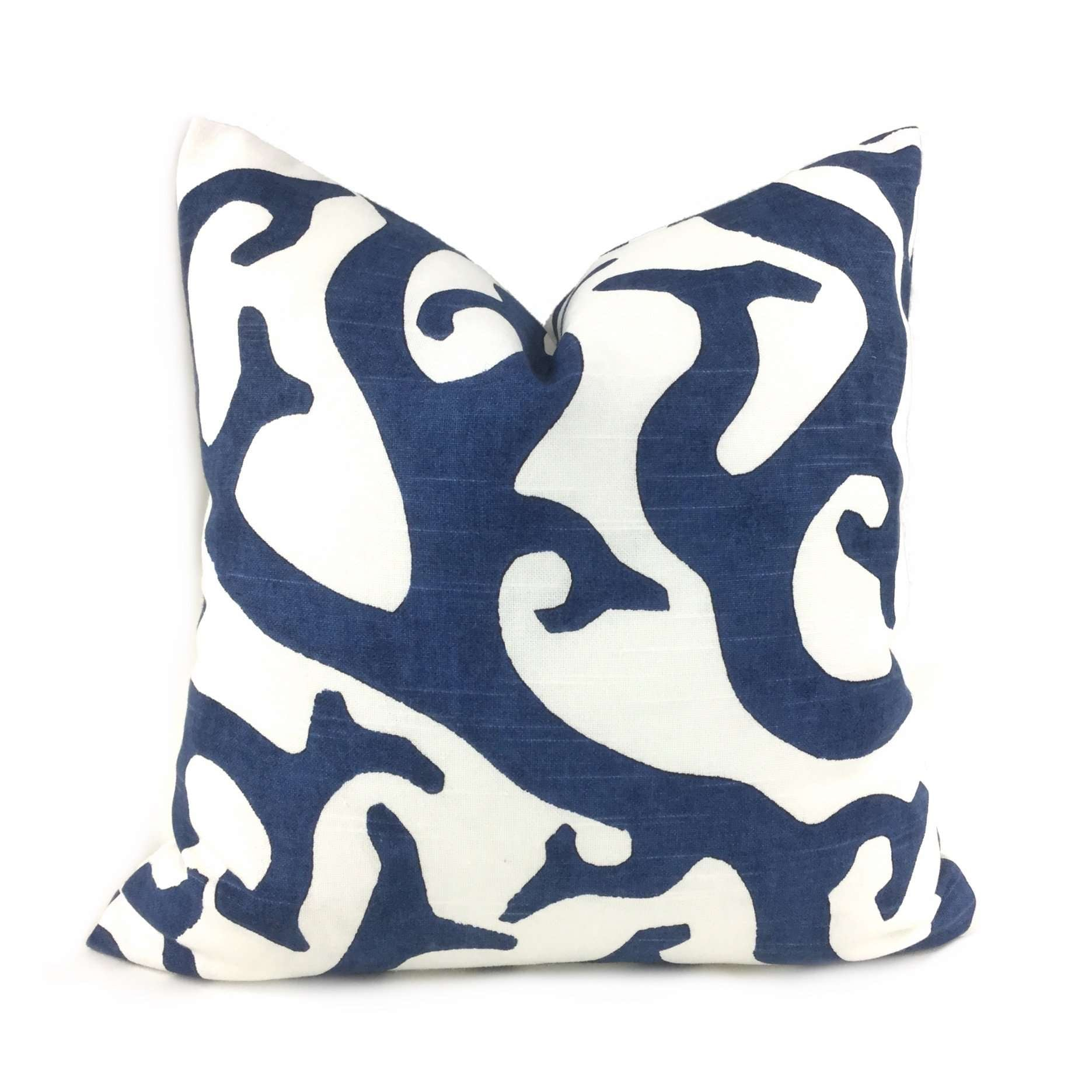 Navy Blue White Coral Reef Cotton Print Pillow Cover
