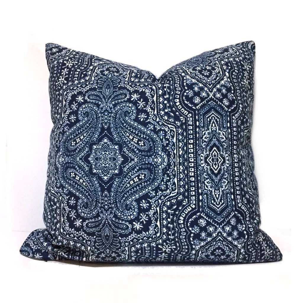 Navy Blue Paisley Pillow Cover