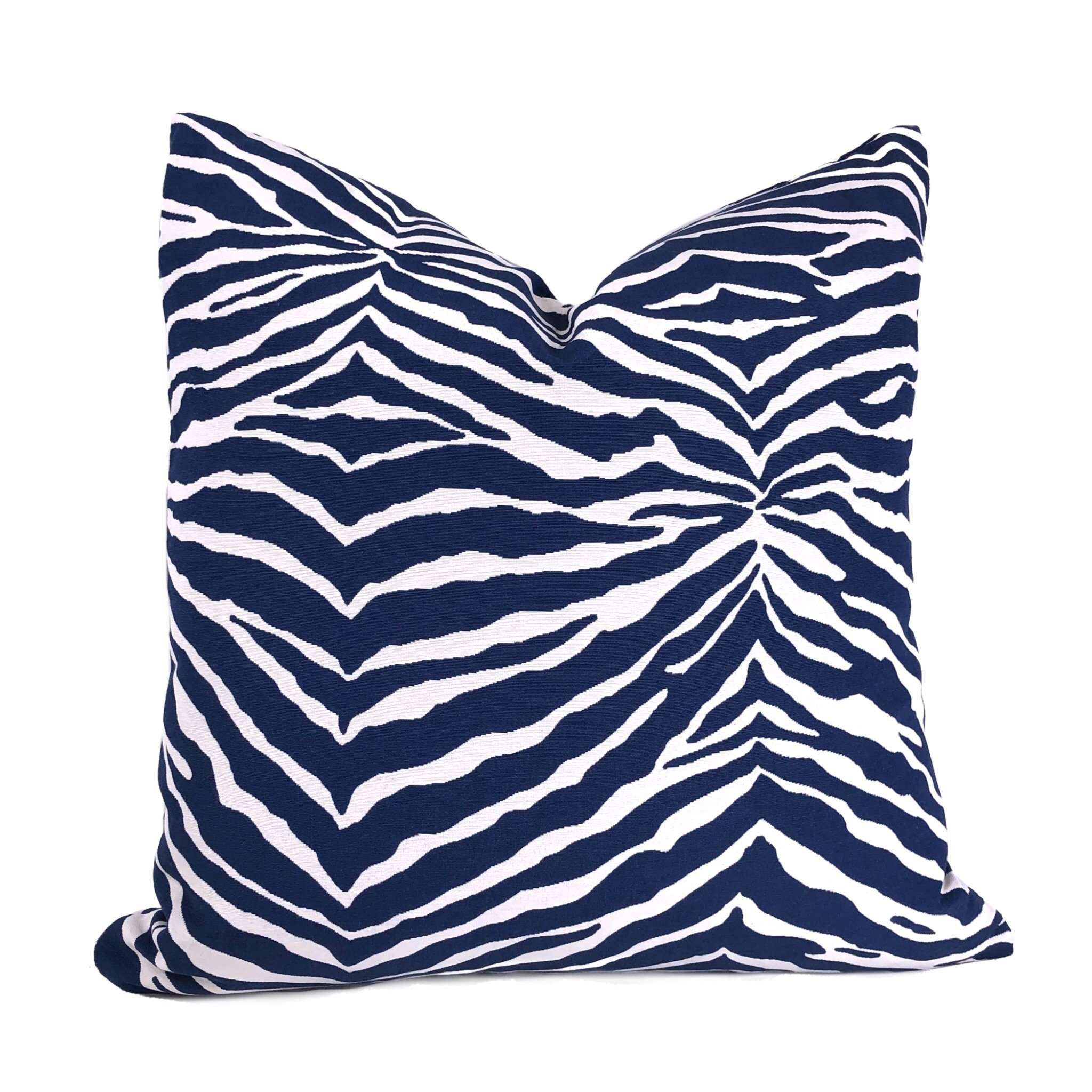 Navy Blue & White Zebra Stripe Pillow Cover Cushion Pillow Case Euro Sham 16x16 18x18 20x20 22x22 24x24 26x26 28x28 Lumbar Pillow 12x18 12x20 12x24 14x20 16x26 by Aloriam