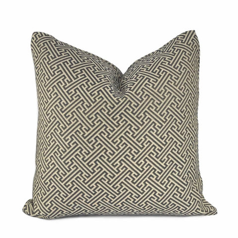 Naxos Dark Brown Beige Greek Key Pillow Cover - Aloriam