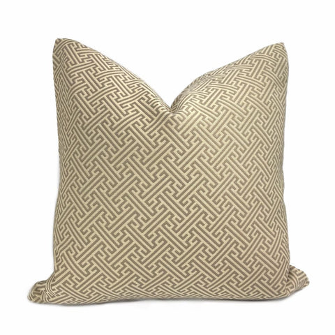 Naxos Taupe Brown Beige Greek Key Pillow Cover - Aloriam
