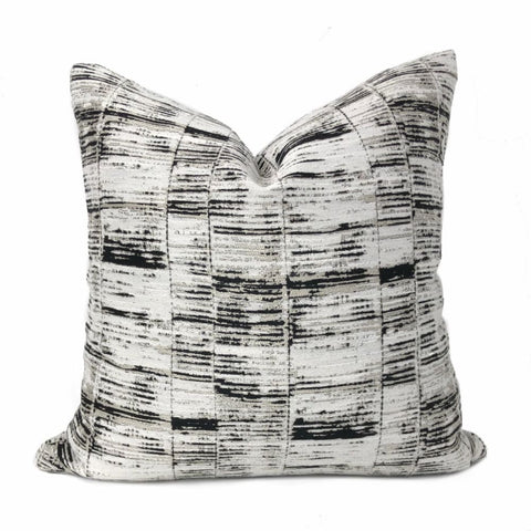 Newman Black Taupe Off-White Abstract Stripe Pillow Cover - Aloriam