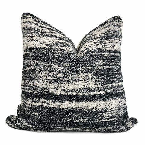 Newport Black Cream Abstract Texture Pillow Cover - Aloriam
