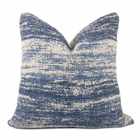Newport Blue Cream Abstract Texture Pillow Cover - Aloriam