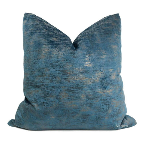 Nimbus Metallic Patina Ocean Blue Velveteen Pillow Cover - Aloriam