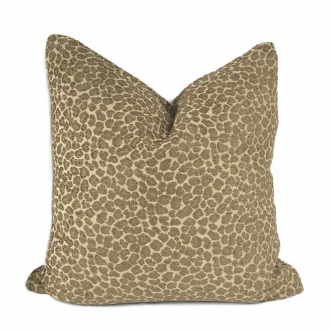 Niobe Brown Leopard Spots Chenille Pillow Cover - Aloriam