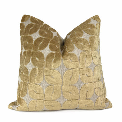 Oberlin Golden Brown Geo Links Cut Velvet Pillow Cover - Aloriam