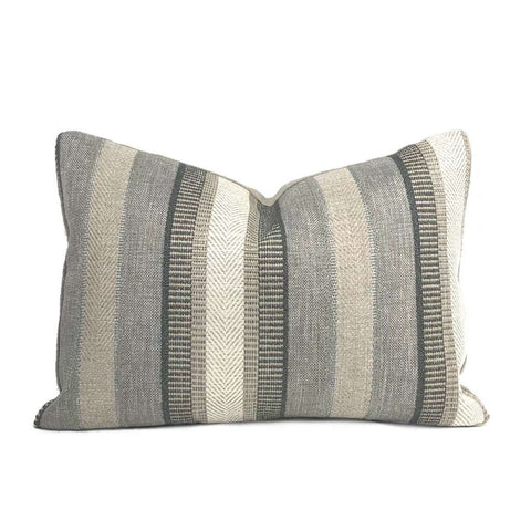 Ogilvie Neutral Earth Tones Textured Stripe Pillow Cover Cushion Pillow Case Euro Sham 16x16 18x18 20x20 22x22 24x24 26x26 28x28 Lumbar Pillow 12x18 12x20 12x24 14x20 16x26 by Aloriam