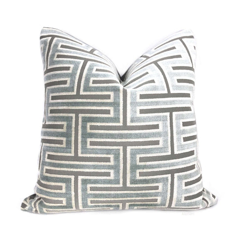 Olympia Ice Blue & Gray Greek Key Geometric Velvet Pillow Cover