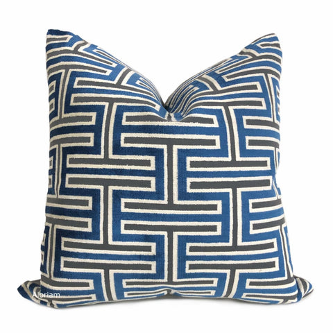 Olympia Marine Blue & Gray Greek Key Geometric Velvet Pillow Cover - Aloriam