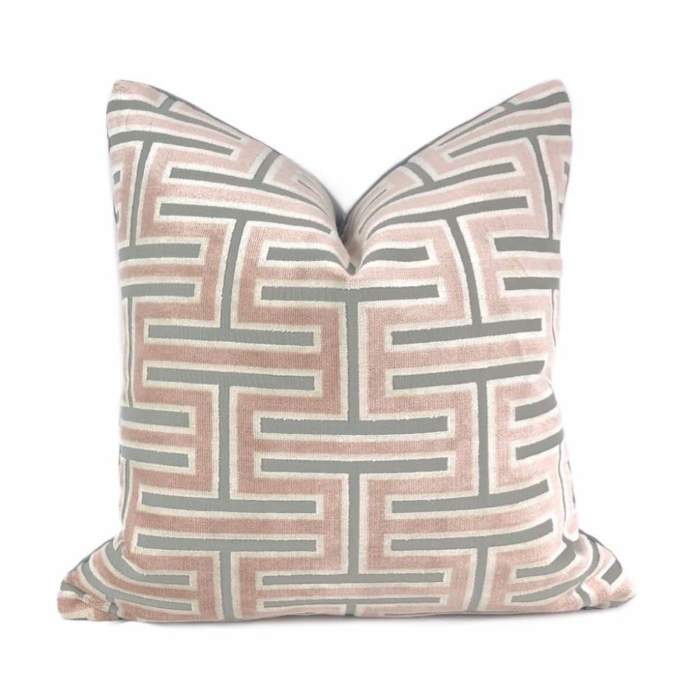Olympia Pink & Gray Greek Key Geometric Velvet Pillow Cover - Aloriam