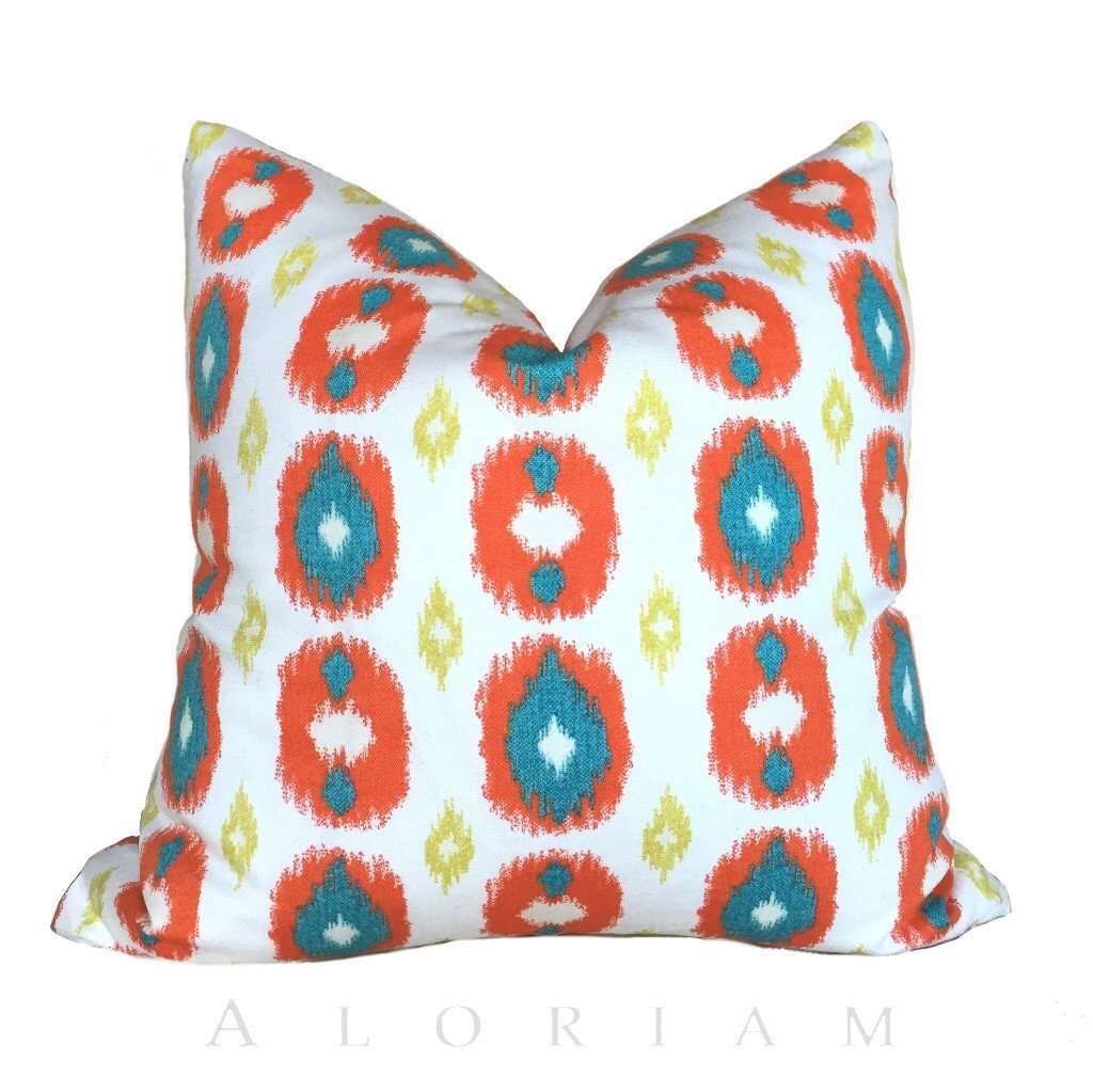 Orange Teal Lime Green White Ikat Dots Throw Pillow Cushion Cover Cushion Pillow Case Euro Sham 16x16 18x18 20x20 22x22 24x24 26x26 28x28 Lumbar Pillow 12x18 12x20 12x24 14x20 16x26 by Aloriam