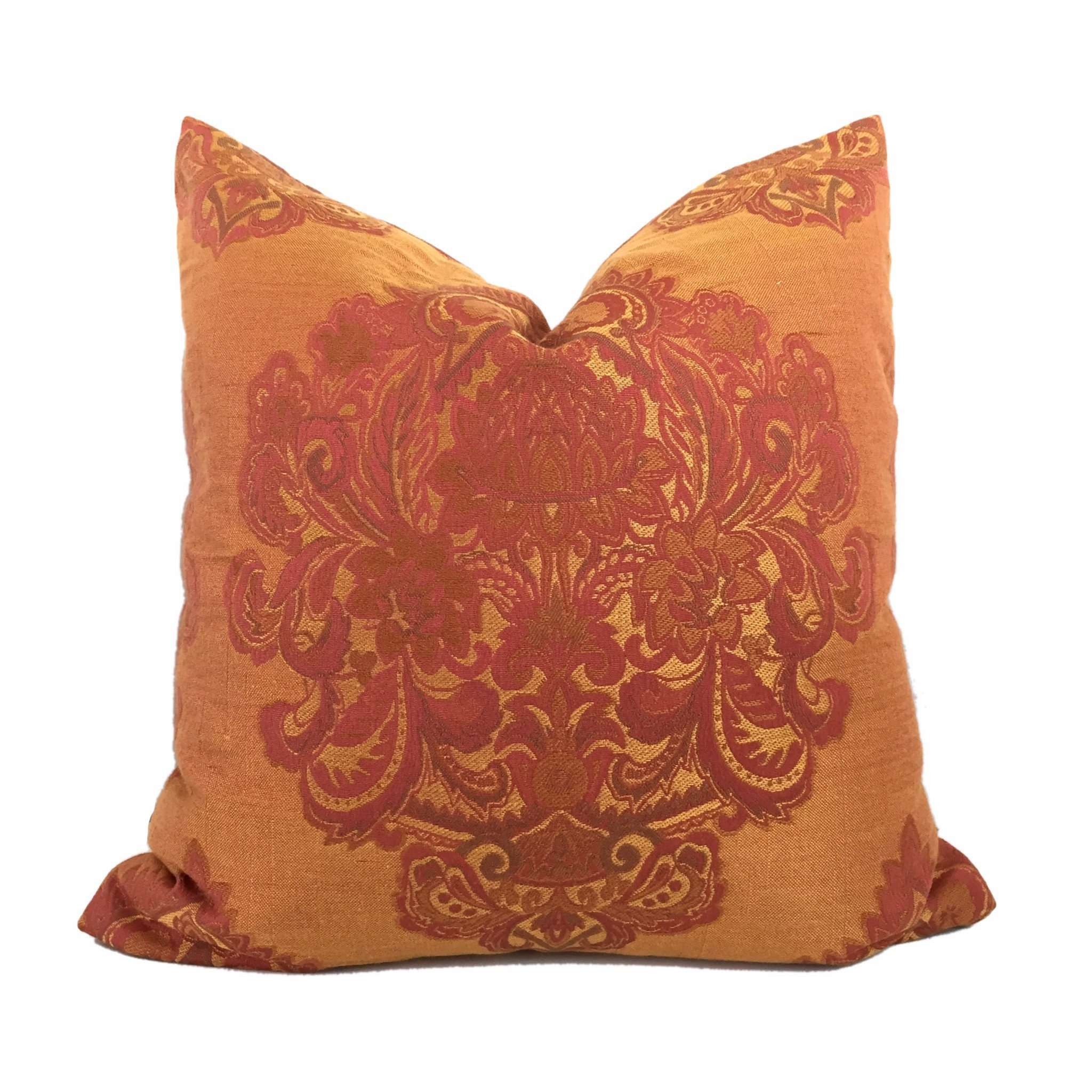Oriental Paisley Damask Jacquard Medallion Orange Red Gold Pillow Cushion Cover Cushion Pillow Case Euro Sham 16x16 18x18 20x20 22x22 24x24 26x26 28x28 Lumbar Pillow 12x18 12x20 12x24 14x20 16x26 by Aloriam