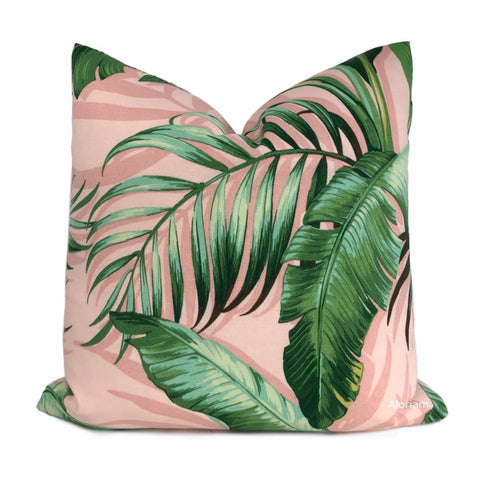 Palmiers Pink Green Palm Leaf Print Indoor Outdoor Pillow Cover (Tommy Bahama fabric) - Aloriam