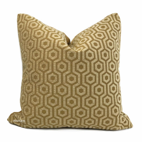 Pascal Honey Brown Hexagon Lattice Chenille Pillow Cover - Aloriam