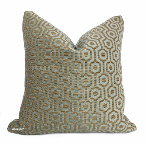 Pascal Seafoam Green Honeycomb Lattice Chenille Pillow Cover - Aloriam