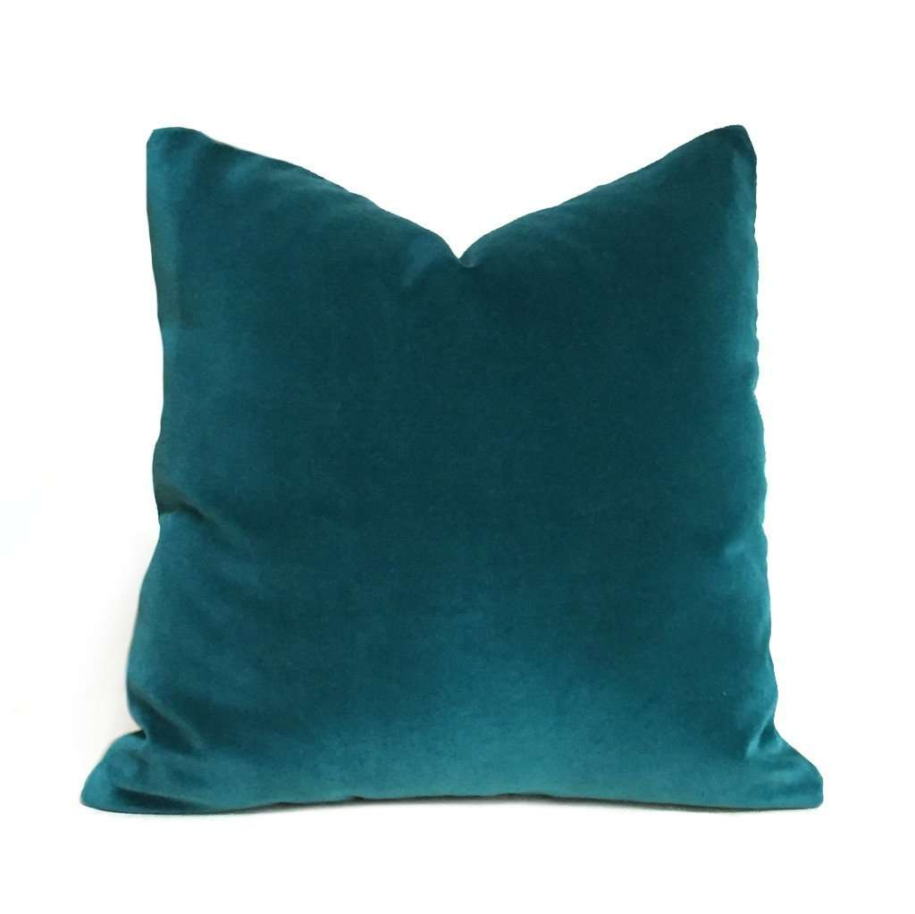 Peacock Teal Blue Green Robert Allen Exquisite Cotton Velvet Pillow Cover