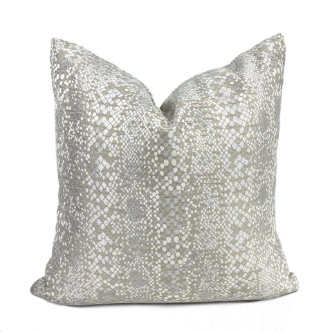 Pearlescent Python Snakeskin Gray Beige Taupe Pillow Cover