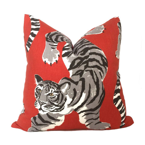 Pepper Red Large Tiger Print Pillow Cover
