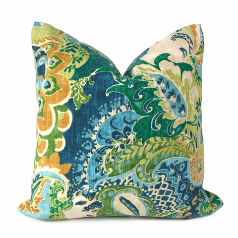Persephone Blue Green Orange Multicolor Floral Print Pillow Cover - Aloriam