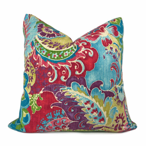 Persephone Red Green Blue Purple Multicolor Floral Print Pillow Cover - Aloriam