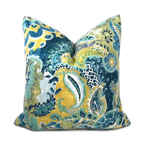 Persephone Teal Green Yellow Floral Pillow Cover Cushion Pillow Case Euro Sham 16x16 18x18 20x20 22x22 24x24 26x26 28x28 Lumbar Pillow 12x18 12x20 12x24 14x20 16x26 by Aloriam