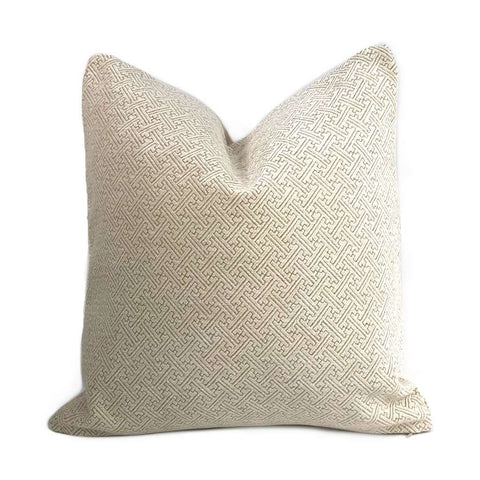 Petra Cream Geometric Greek Key Chenille Texture Pillow Cover Cushion Pillow Case Euro Sham 16x16 18x18 20x20 22x22 24x24 26x26 28x28 Lumbar Pillow 12x18 12x20 12x24 14x20 16x26 by Aloriam