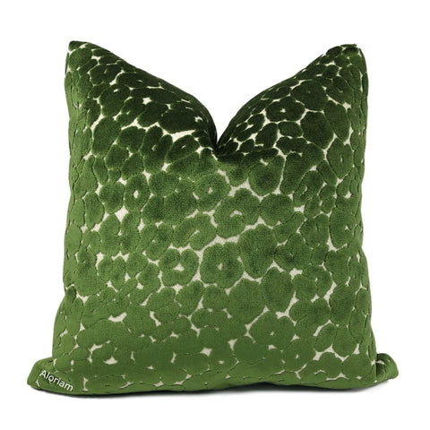 Phoebe Spinach Green Leopard Velvet Pillow Cover - Aloriam