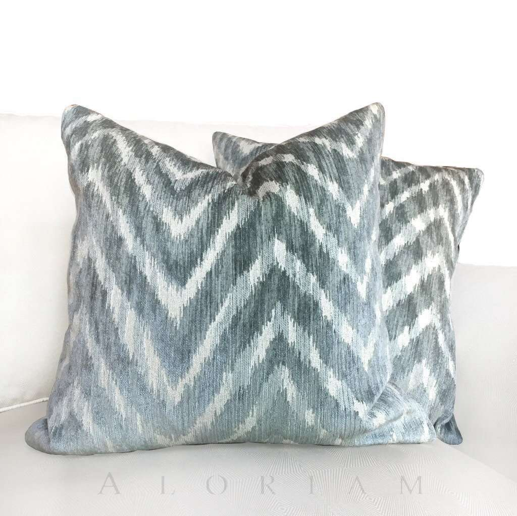 Pindler Ombre Chevron Maku Designer Green Beige Chenille Pillow Cushion Cover