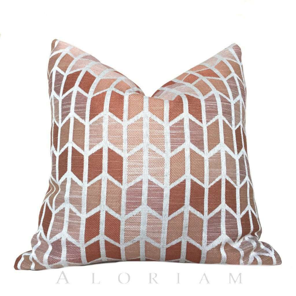 Pink Copper Rust Chevron Herringbone Geometric Pattern Pillow Cushion Cover
