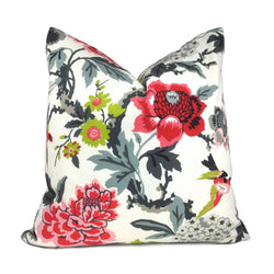 Pink Gray Cream Floral Birds Cotton Print Pillow Cover