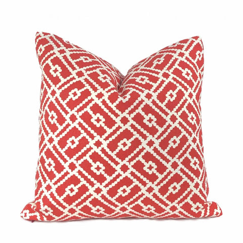 Pippa Red White Geometric Lattice Print Pillow Cover - Aloriam