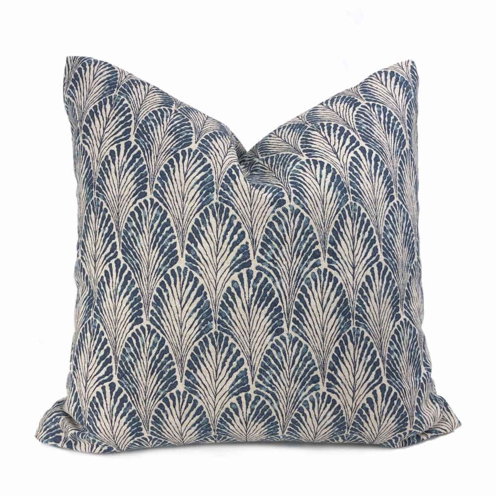 Plume Marine Blue Beige Pillow Cover (Made from Lacefield Designs fabric) - Aloriam