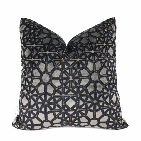 Pollack Crosscut Plush Ash Gray Black Belgium Velvet Pillow Cover - Aloriam