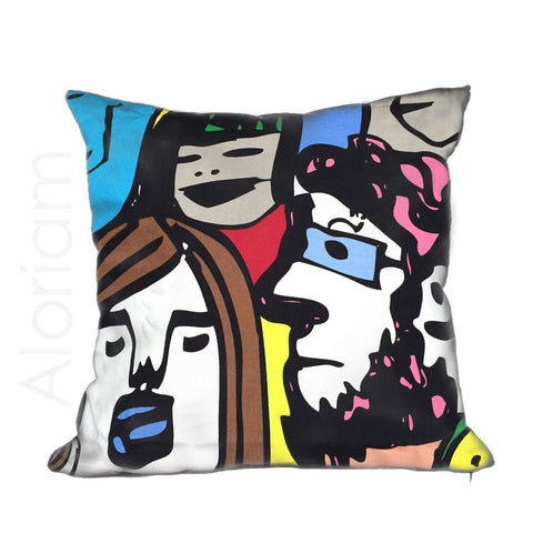 Pop Art Faces Bright Multicolor Cotton Pillow Cushion Cover